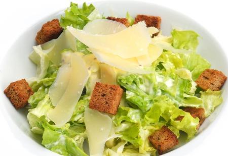 greek chef: fresh organic eco vegetable salad,close-up isolated on white Stock Photo