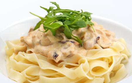 pasta salad: Macaroni with cheese, chicken and mushrooms Stock Photo
