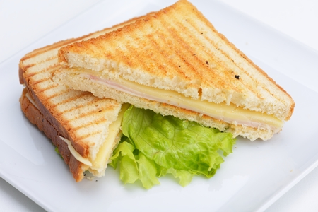 fresh sandwich close up with vegetables and meat fish isolated  photo