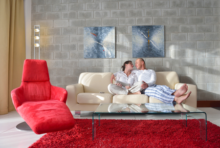 couple on couch: happy young  Couple Using Digital Tablet computer At Home