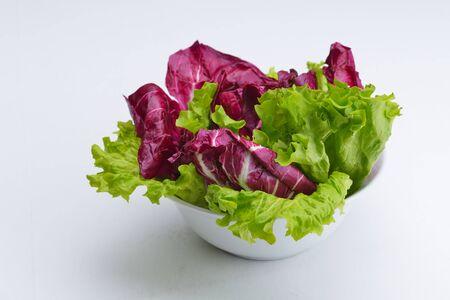 fresh organic eco vegetable salad,close-up isolated on white photo
