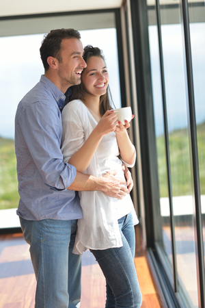 romantic happy young couple relax at home photo