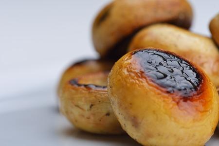 champignon: mashroom food vegetable grilled isolated on white background
