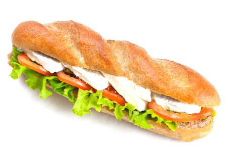 fresh sandwich close up with vegetables and meat fish isolated on white background photo