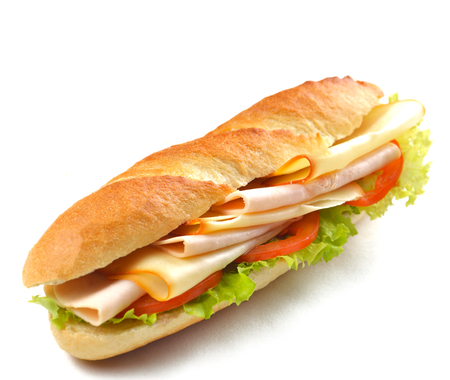新鮮なサンドイッチは野菜と肉魚の白い背景で隔離とクローズ アップ