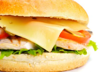 still life with fast food hamburger menu, french fries, soft drink and ketchup photo
