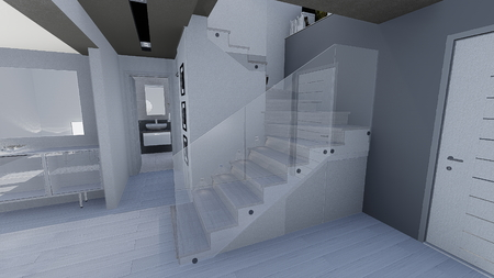 appartment: 3d design of modern home appartment indoor Stock Photo