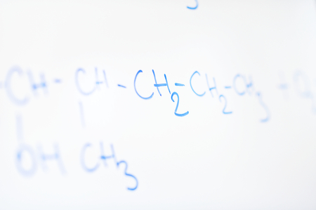 abstract science and  chemical molecule structure on white board in school classroom background photo