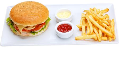 food still: still life with fast food hamburger menu, french fries, soft drink and ketchup