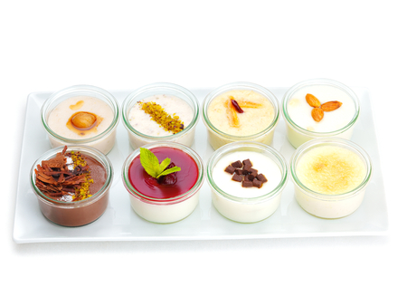 mousse: tasty dessert glass cup with fruits and chocolate