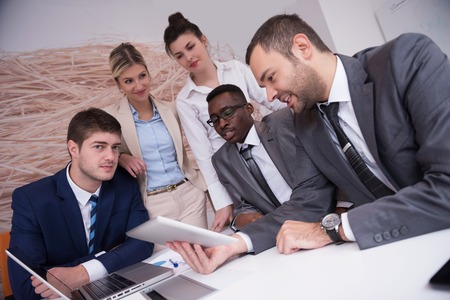 black business men: young business people group have meeting and working in modern bright office indoor