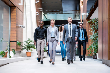 hall: young multi ethnic business people group walking standing and top view