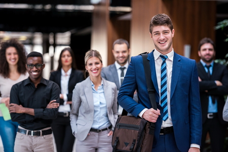 young multi ethnic business people group walking standing and top view