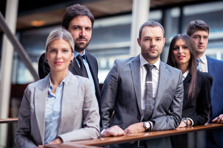 young multi ethnic business people group walking standing and top view photo