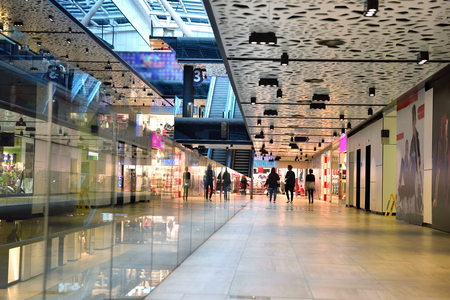 indoor: modern bright shopping mall indoor architecture Editorial
