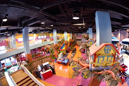 toy shop: modern shopping mall playground for kids and video games