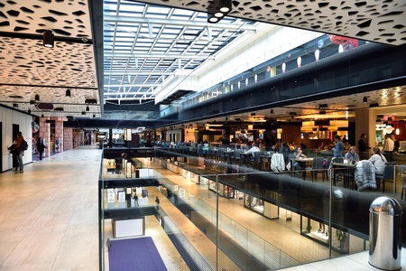 indoors: modern bright shopping mall indoor architecture Stock Photo