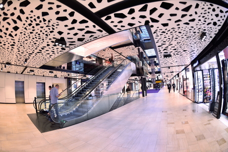 shopping mall: modern bright shopping mall indoor architecture Stock Photo