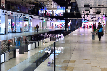 modern bright shopping mall indoor architecture Stok Fotoğraf