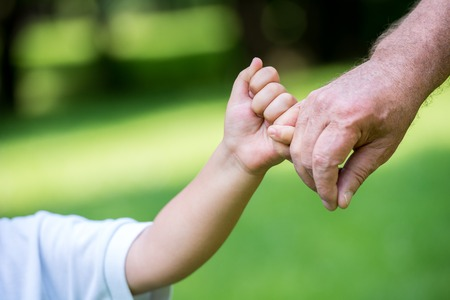 внук: Счастливый дедушка и ребенок имеют удовольствие и играть в парке на красивый солнечный день Фото со стока