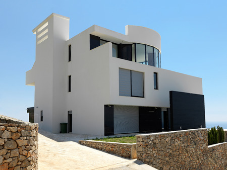 mansion: External view of a contemporary house modern villa