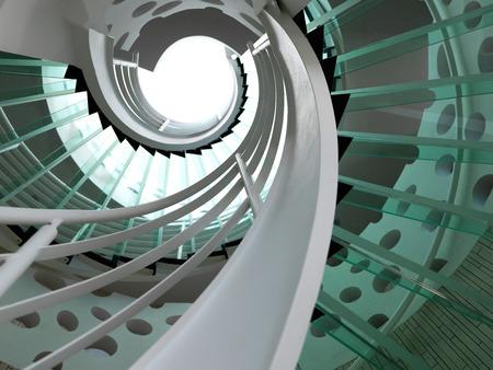 金属の手すりとモダンなガラス螺旋階段。