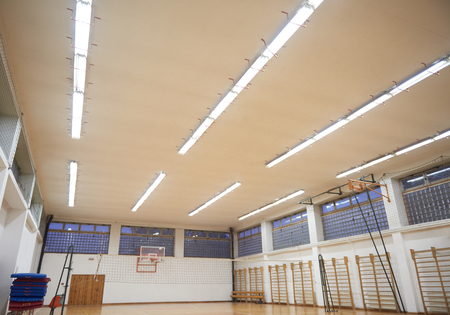 school gym: elementary school gym indoor with volleyball net