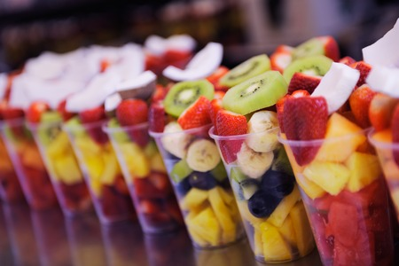 fruit salad to go on street in the city Stock Photo