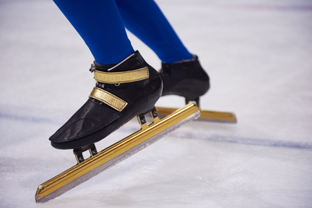 short gloves: speed skating sport with young athletes