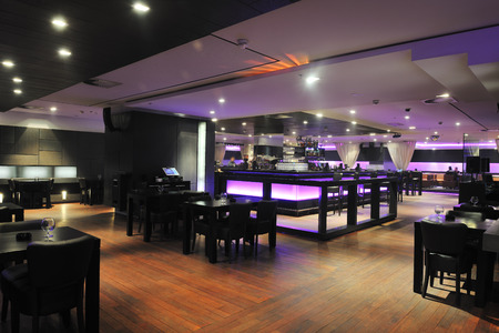 bar interior: modern design club restaurant bar indoors