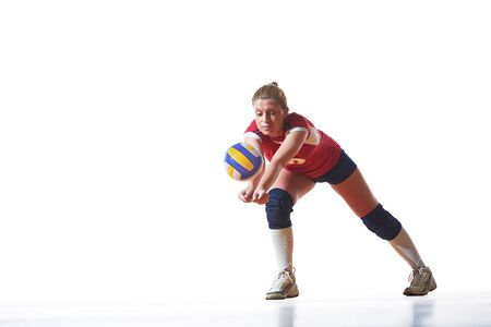teen silhouette: volleyball woman jump and kick ball isolated on white background