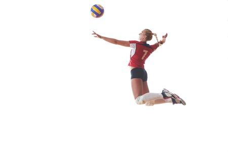 배구 여자 점프 킥 공을 흰색 배경에 고립