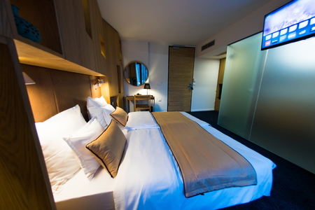 guest room: Interior of modern comfortable hotel room