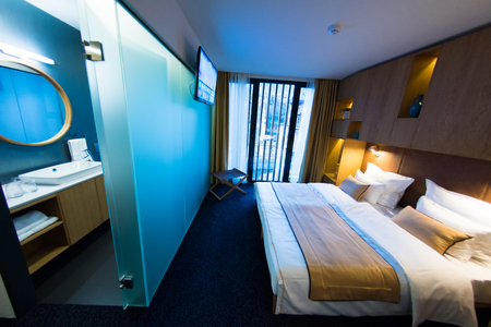 room decorations: Interior of modern comfortable hotel room