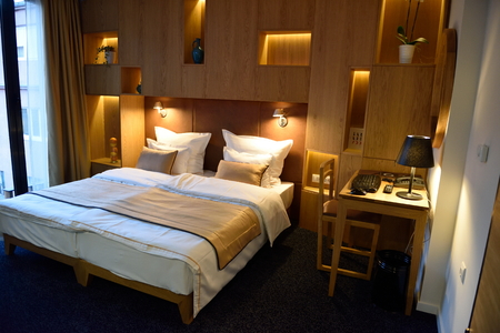 comfortable: Interior of modern comfortable hotel room