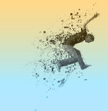 exposicion: diseño pixelado abstracta de un practicante del muchacho y saltando de skate en un parque