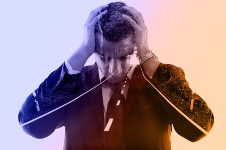 double exposure of business man and nature road way. Portrait of a young businessman looking depressed from work isolated over white background in studio photo