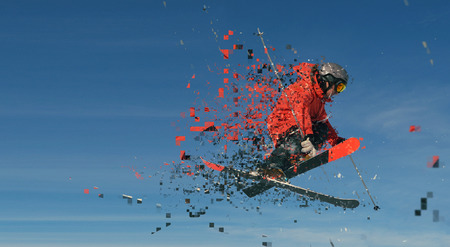 suny: design of jumping skier at mountain. winter snow fresh suny day Stock Photo