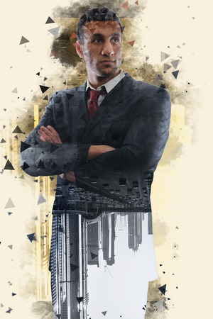 Double exposure with low poly design of businessman and future city photo