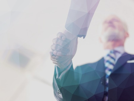 executive woman: Double exposure design. Business partners, partnership concept with two businessman handshake