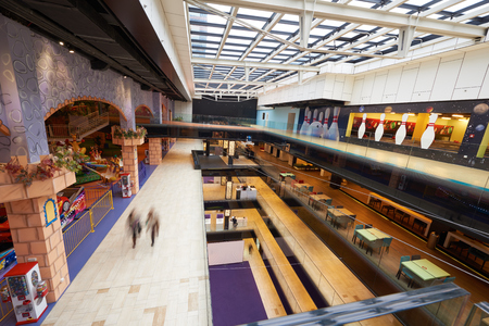 modern architecture: modern bright shopping mall indoor architecture Stock Photo