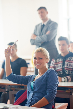 study group: group of students with teacher on class learning lessons Stock Photo