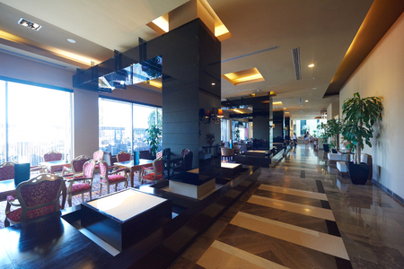 hotel lounge: luxury business hotel lobby interior with modern design Stock Photo