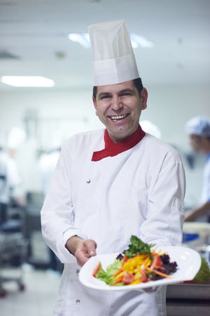 chef kitchen: chef in hotel kitchen preparing and decorating food, delicious vegetables and meat  meal dinner Stock Photo