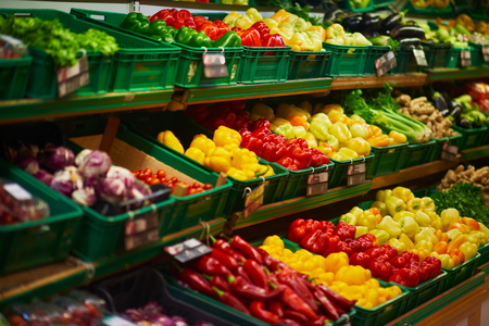 produce departments: supermarket vegetable store food grocery background Stock Photo
