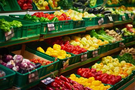 supermarket vegetable store food grocery background Archivio Fotografico