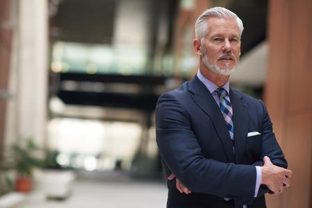 Porträt von Senior Business Mann mit grauem Bart und Haare allein i modernen Büroinnenräumen
