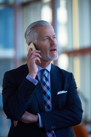 business man phone: senior business man talk on mobile phone  at modern bright office interior Stock Photo