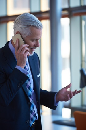 phone business: senior business man talk on mobile phone  at modern bright office interior Stock Photo