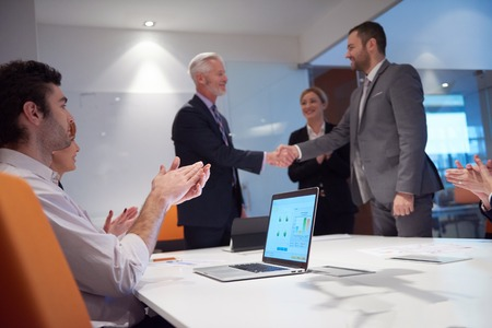 deal: business partners, partnership concept with two businessman handshake Stock Photo